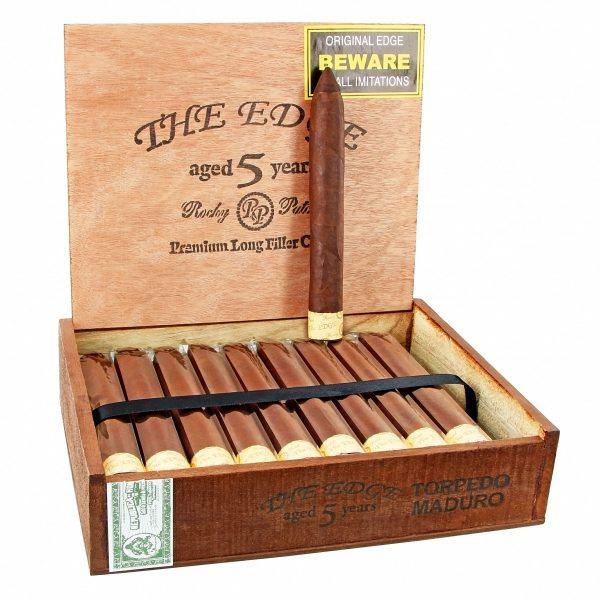 This is a box of Rocky Patel The Edge Torpedo Maduro Cigars.